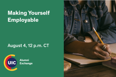 Green background with the Alumni logo at the bottom left. On the right side is a person sitting writing with a pencil.