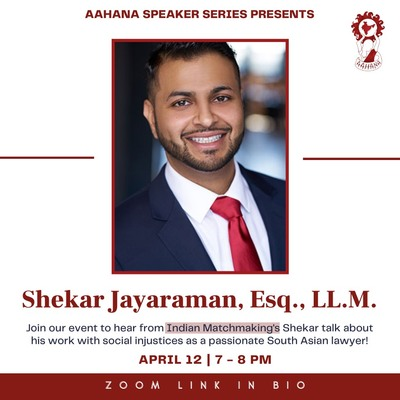 The background is white with red and black lettering. There is an image of Shekar Jayaraman in the center, and the Aahana UIC logo in the top right corner.