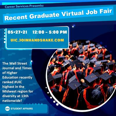There is a circular image of students wearing their cap and gowns on the right side of the flyer. At the bottom left, there is the UIC Student Affairs logo.