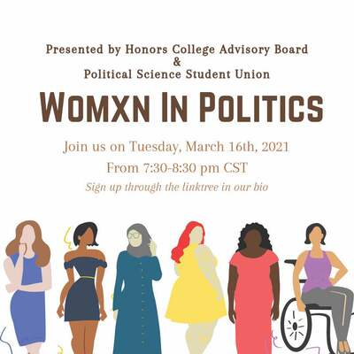 This image has a white background with all of the words in varying sizes and fonts. Some of the words are brown and some are orange explaining the details of the event. At the bottom, are images of diverse women wearing all different types of clothes.