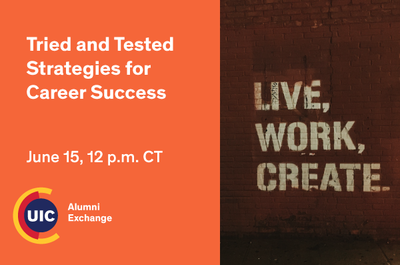 Orange background with the Alumni Exchange logo at the bottom left. On the right hand side is a brick background with etchings of the words Live, Work, Create spray painted.