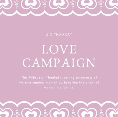 The background color is pink and the text is in white for the first two images. The background color is red and the text is white for the last image.