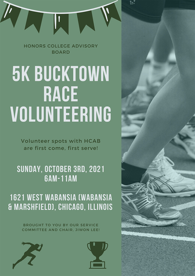 The background of the flyer is green with a banner decoration on top. To the right is a photo of runners at the start of a race which covers about half the flyer. At the bottom left are small green images of a runner and a trophy. The flyer's words are all in the middle.