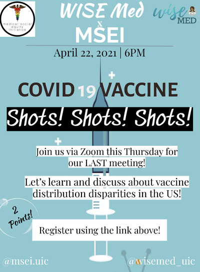 The background color of the flyer is blue with an image of a vaccine syringe in the center. Mentions the title, time, and date of the event