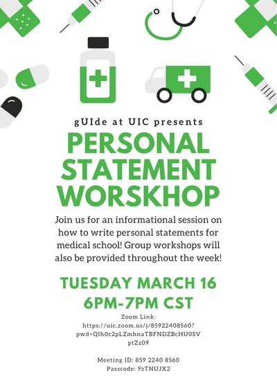 Background color is white with a green color scheme on the symbols. There are medical related symbols on the top border of the flyer that are colored green and gray. The event title and time is in green and the information is in black.