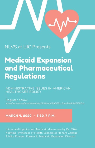 """The background color is light blue and there is an image of a pink heart at the top with a white EKG running through it. The title is """"Medicaid Expansion and Pharmaceutical Regulation: Administrative Issues in the American Healthcare System."""