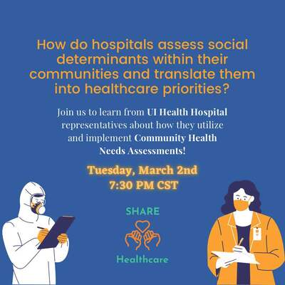 Flyer has a blue background with two human figures on the right and left bottom corners. The figure on the left is wearing a white medical suit and taking notes on a clipboard, and the figure on the right is wearing an orange blazer and mask while taking notes with a pen. There is the SHARE logo with two hands holding a heart at the bottom of the flyer in orange.