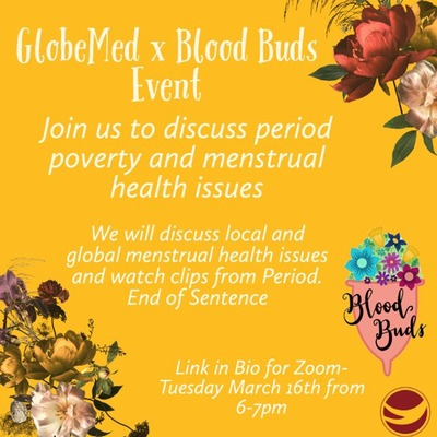 Golden yellow background. Flowers in the top right and bottom left corner of the page. Image of pink menstrual cup filled with flowers in the bottom right corner.