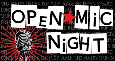 "The image has a black microphone with red behind it, and black lettering on white rectangles, spelling out ""open mic."" The background of the image is black, and there is a red star between the words."