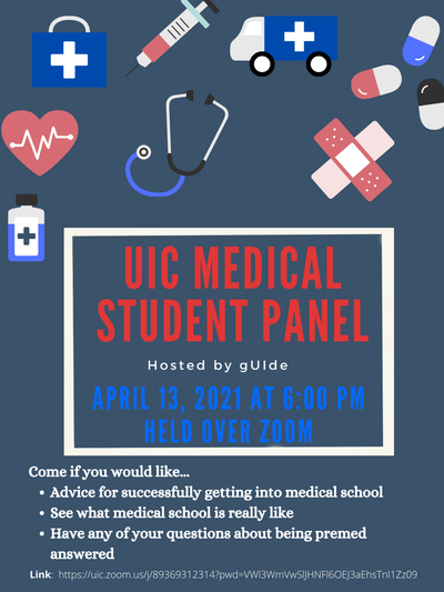 Gray/blue flyer with medical cartoons of pills, band-aids, ambulance, stethoscopes. Event details as in description above.