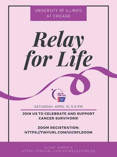 The background color is lavender, and there is a purple ribbon that spreads across the middle of the flyer. The American Cancer Society's blue and red logo is also placed near the middle of the flyer.