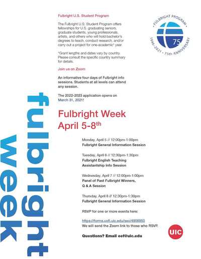 "The Fulbright logo is in blue on the top right corner, and the words ""Fulbright Week"" run vertically on the left side of the page in shades of blue. The red UIC logo is on the bottom, right corner of the page."