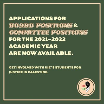 The background color is dark green and the writing is in light white and red colors. On the down righthand corner there is the logo is UIC SJP and in the center we have the main text of the flyer. announcing that applications for SJP are now open.