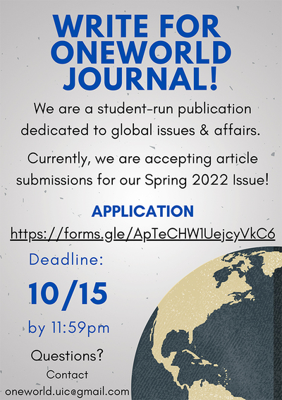 The background color is gray and there is an image of a gray and yellow globe on the bottom right hand corner of the page. The title and deadline are written in larger, blue colored text while the description is in black.