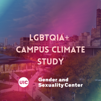 A picture of campus with a pink/purple filter over east campus with the UIC logo on the near bottom with the Gender and Sexuality Center insignia..