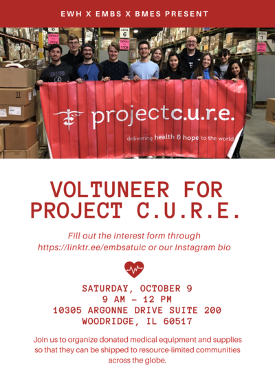 """The background color is white with an image of volunteers holding a sign that says """"Project C.U.R.E""""."""