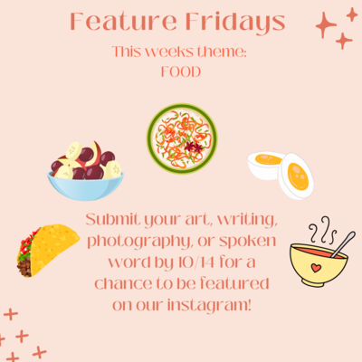 Flyer has dark red font with light pink background. The background has a taco, a bowl of fruit (grapes and apples), boiled eggs, a bowl of colorful vermicelli, and a yellow bowl with a heart on it and a spoon in it. Stars on top right and bottom left corner of the flyer.