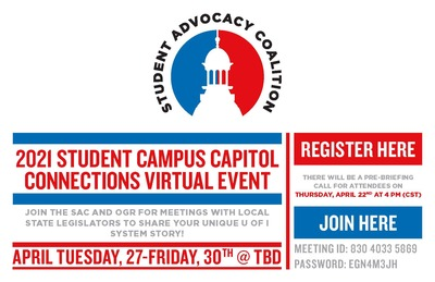 The image is the Student Advocacy Coalition logo, in red, white, and blue.