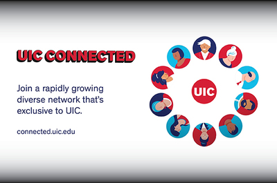 White background with a circle of clip art profiles of people with the UIC logo in the middle.