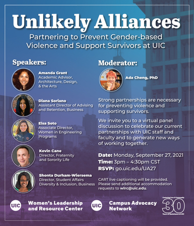 A gradient of blues/purples over a Chicago skyline view from UIC. There are small headshots of all the speakers for the event. At the bottom, there is the Women's Leadership & Resource Center and Campus Advocacy Network logos.