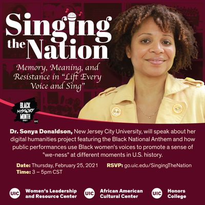 The flyer is maroon with white text. There is a photo of Dr. Donaldson on the top, right side of the flyer. There is also a small Black History Month 2021 logo, and UIC logo in the middle of the page on the left; both have white text.
