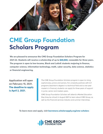 The flyer is primarily white with back text. There is also some blue text. The top features a photo of a female graduate in cap and gown. The bottom features a photo of a young woman working on a laptop, at a table with two men. The CME logo is at the bottom.
