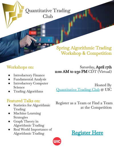 The background color is white with gold text. Pictures include the Quantitative Trading Club logo, the price graph of a stock with a person working on a tablet, and the UIC logo