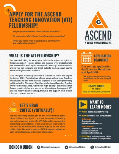 The flyer is divided into six color-blocked sections. The background colors are white, orange, and dark gray.