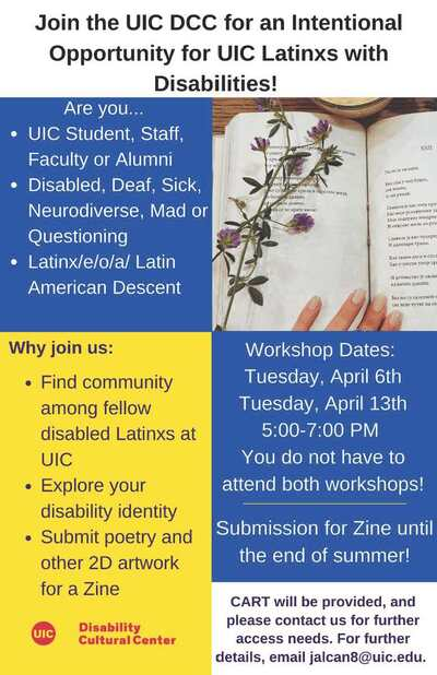 Flyer with blocks of white, dark blue, and yellow. All information listed on the flyer is typed out above. On the left side near the top is a photo of an open book with a branch of purple flowers on the left page and a hand at the bottom of the book. Red DCC logo on the bottom left.