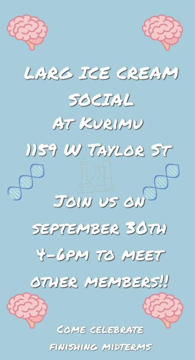 Background color is light blue and there is white text indicating location and date of ice cream social. Pictures of DNA and brain emojis scattered throughout flyer