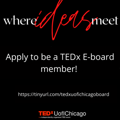 The poster is black with a link to apply