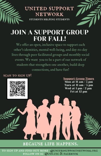 The background color is black with pink, white, and green text in front. There are green leaves at the top of the page and pink silhouettes of people at the bottom. There is a QR code at the bottom left of the page.