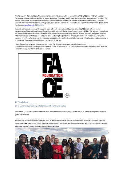 The images include the logo from the FACE Foundation which funded my grant to teach the program and the program includes a group of students who visited Paris on the Study Abroad internships when live exchange was possible to inspire current students to travel virtually.