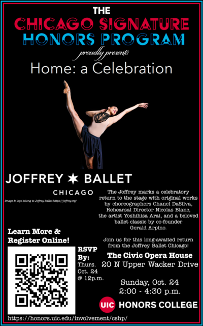 Black background with a dancer doing ballet. There is a QR code in the corner and the UIC Honors College logo on the right side.