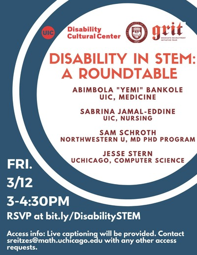 Orange, maroon, and white text on a deep blue background, with concentric white and blue circles. At the top are logos for the UIC Disability Cultural Center and the University of Chicago Graduate Recruitment Initiative Team.