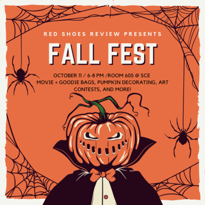 Orange background with spider webs and spiders on the border. Pumpkin headed man with black cape and orange bowtie with a white shirt in the center. Black spiders and webs around. Text is white.