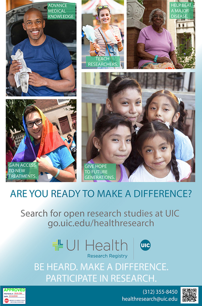 There are candid photos of different types of people smiling including families. The UI Health Logo is near the bottom.