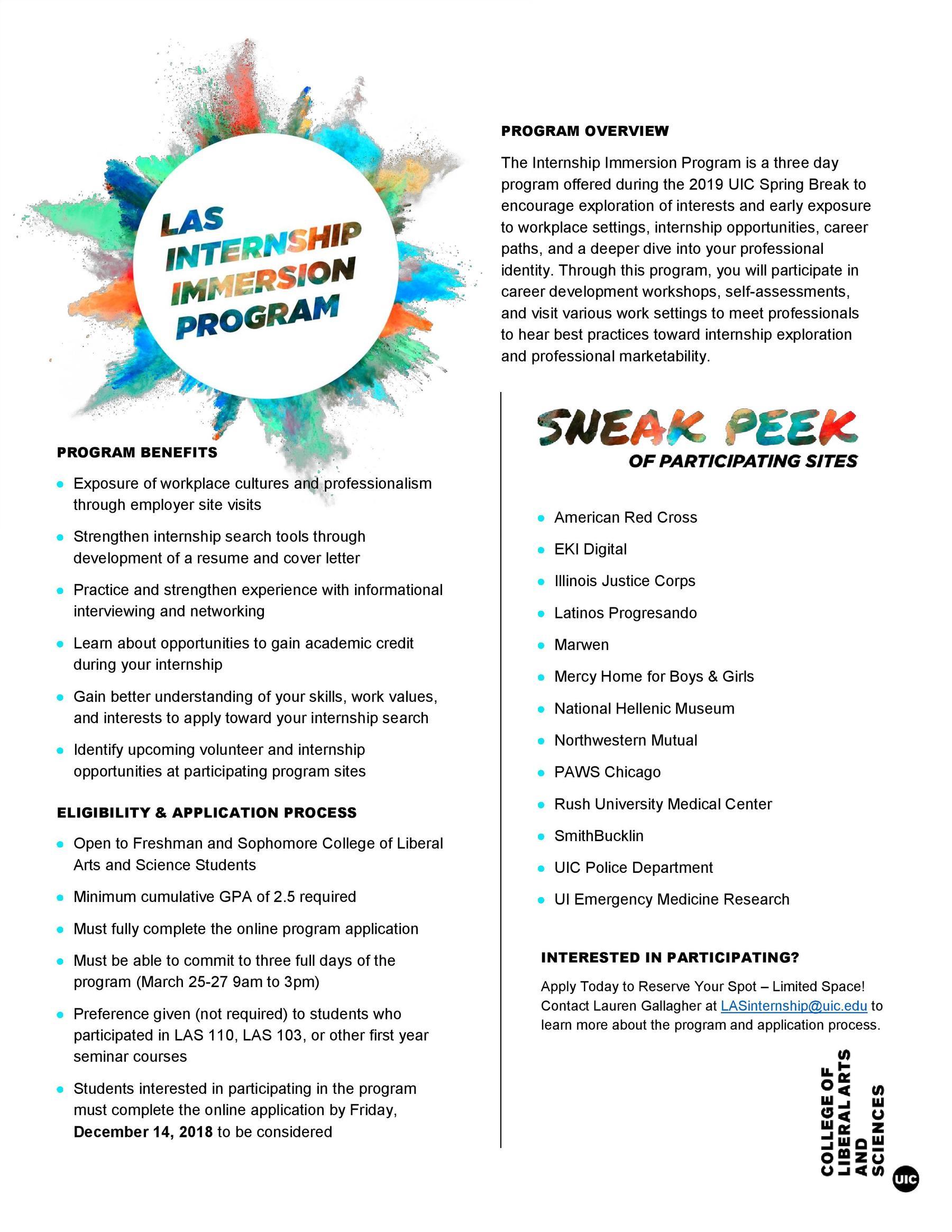 LAS Internship Immersion Program – Application Deadline: Dec ...