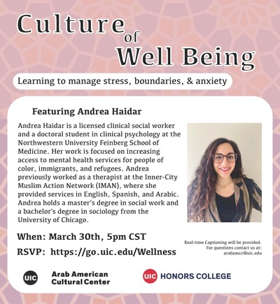 The image has a pink background on the top and a photo of the speaker. The logos for the Arab American Cultural Center and Honors College are on the bottom of the flyer.