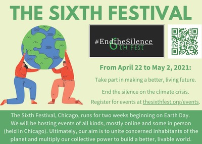 "The flyer is different shades of green. There is a green QR code that is linked to a LinkTree account, on which additional websites associated with The Sixth Festival can be accessed. There is a black, white, and green logo for the festival that integrates the phrase ""6th fest"" with the phrase ""end the silence."" There is an image of two people on their knees holding the earth up together."