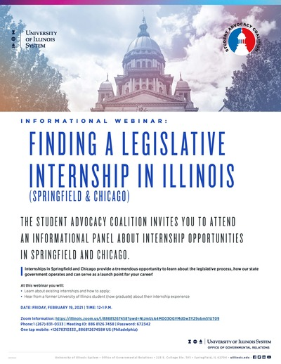 There is a photo of the Illinois Capitol Building on the top of the flyer, and the UI system logo on the top, left corner of the photo. The rest of the flyer is white, with blue and black text.