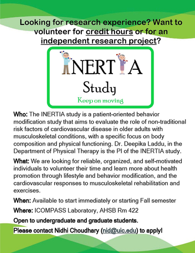INERTIA Study Logo with older adults representing the two I's in 'INERTIA' background color is green