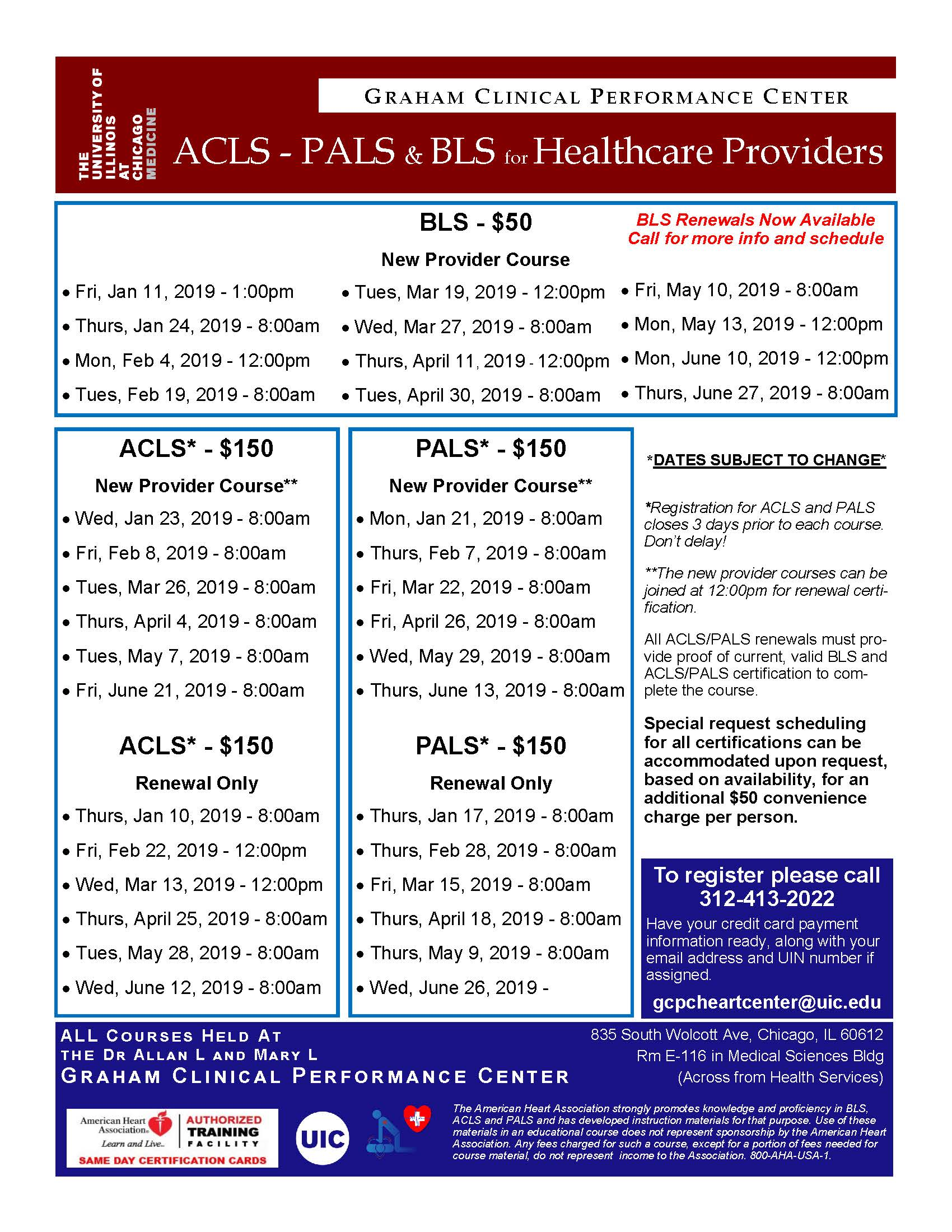 American Heart Association BLS, ACLS, & PALS CPR Classes (June